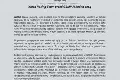 INFORMACJA PRASOWA - Waldek Kluza - Przed GSMP Jahodna